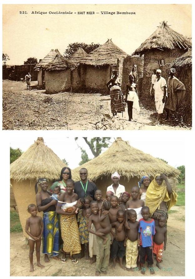 En haut: village au Niger du temps de la colonisation. En bas: village au Niger en 2010.