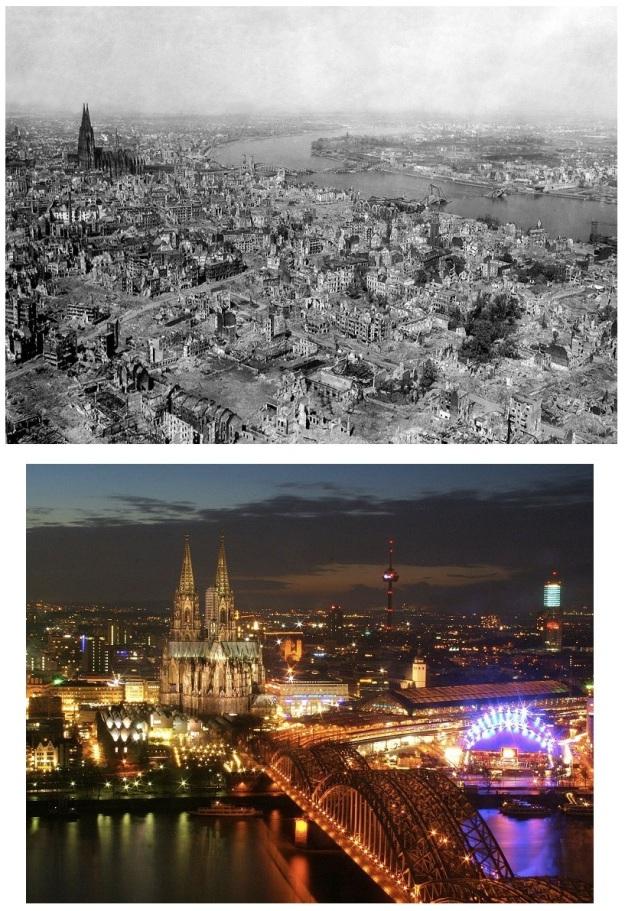 En haut: Cologne, en 1945, après des années de bombardements alliés. En bas: Cologne en 2010.