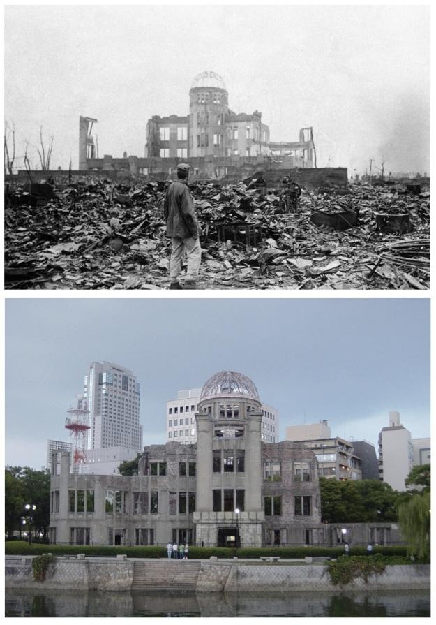 En haut : Hiroshima en 1945. En bas : Hiroshima en 2007.